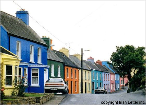 colorful Irish village, Eyeries in southwest